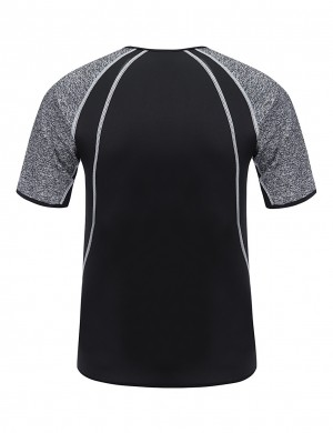 Sleek Curves Grey Neoprene Men's Sport Top Reflective Stripe Curve Shaping