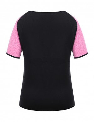Slim Waist Rose Red Neoprene Sport Top Zipper Short Sleeves Firm Compression