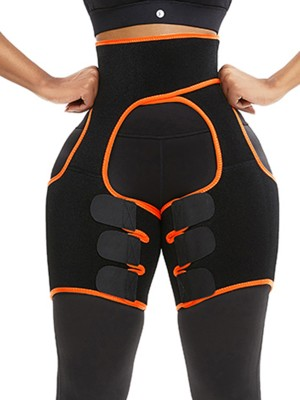 Orange Neoprene Thigh And Waist Shaper High Waist Shapewear