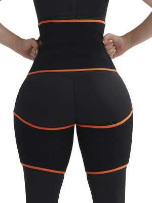 Bodycon Orange Sweat Thigh Trimmer High Waist Pocket Body Shaper