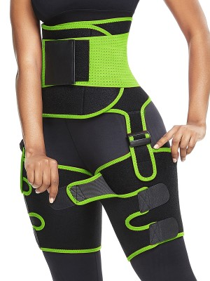 Green Sweaty Adjustable Neoprene Thigh Waist Trainer Fat Burning