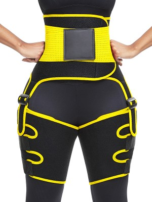 Yellow 2-In-1 Adjust Sticker Neoprene Thigh Trainer Slimming Tummy