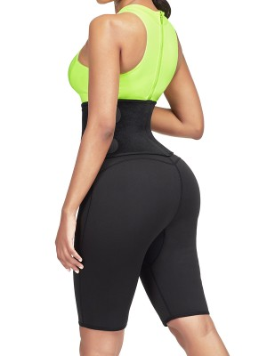 Supportive Green Sweat Shorts Shaper With Waist Belt High Impact