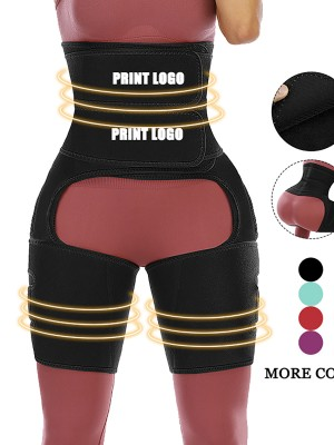 Slimming Black Custom Logo High Waist Double-Belt Thigh Trainer