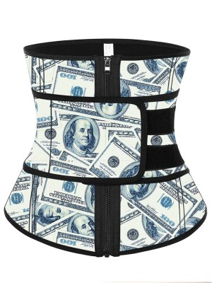 Pre-sale Money Print Latex Waist Trainer Sling Belt Calories Burning