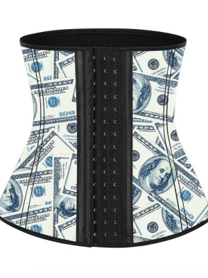 Pre-sale Latex Waist Cincher With Hooks Dollar Print Abdominal Control