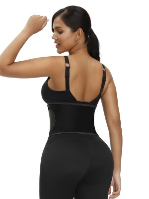 Exquisitely Black Embossed Waist Trainer Moisture-Wicking Instant Slimmer