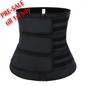 Moderate Control Black Three Belts Latex Waist Trainer Big Size