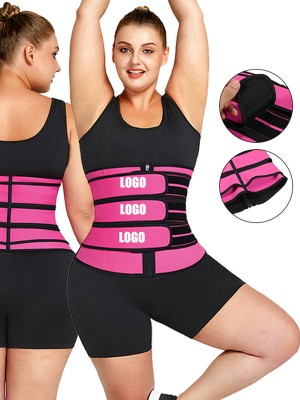 Tummy Waist Trainer Rose Red 7 Steel Bones Latex Zipper Fat Burning