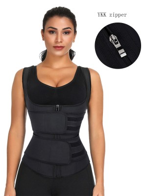 Black Latex Double Belts Waist Trainer Vest Waist Control