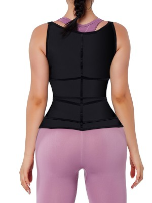 Black Upgrade Durable Zipper Waist Trainer Vest 9 Steel Bones