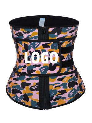 Camo Print Latex Waist Trainer With Zipper Sling-Belt Waist Control