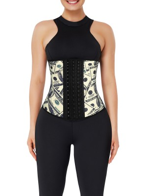 Money Pattern Latex Waist Cincher With Hooks Body Shapewear