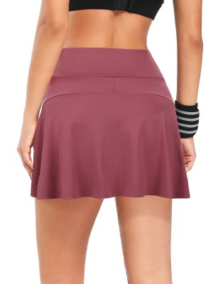 Interesting Jujube Red High Waist Tennis Skirt With Pockets