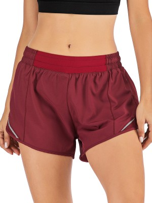 Glamorous Purplish Red Lining Detail Solid Color Running Shorts For Girl