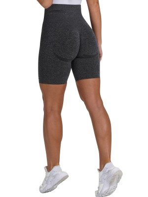 Sunset Black High Waist Gym Shorts Solid Color For Girl
