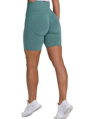 Modern Dark Green Athletic Shorts Seamless Wide Waistband Running Outfits