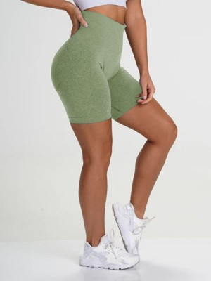 Magic Grass Green Wide Waistband Sports Shorts High Rise Elasticity