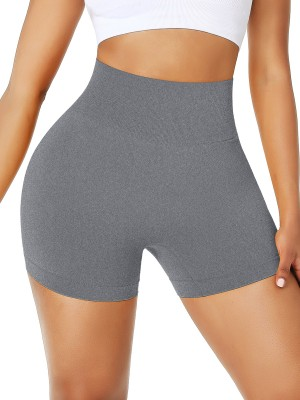 Plain Gray Wide Waistband Seamless Running Shorts High Quality