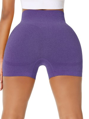 Sweetheart Dark Purple Sports Shorts High Waist Solid Color Versatile Item