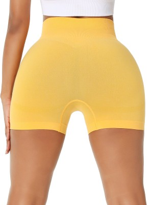 Athletic Yellow Thigh Length Seamless Athletic Shorts Comfort Fit