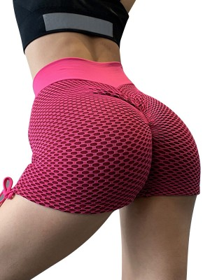 Vivifying Rose Red Sports Shorts Side Drawstring Ruched Fashion