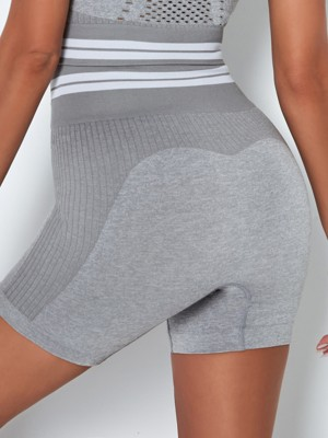 Light Gray High Waist Stripe Seamless Biker Shorts Elasticated