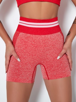 Pink Stripe Colorblock Biker Shorts Seamless Elasticity