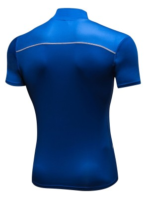 Tropics Royal Blue Patchwork Mesh Athletic T-Shirt Slim