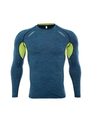 Invigorative Blue Patchwork Round Collar Running Top Motion Control