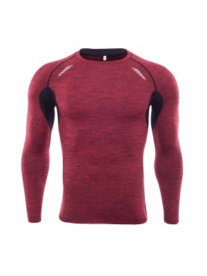 Paradise Red Long Sleeve Men's Athletic Top Good Air Permeability