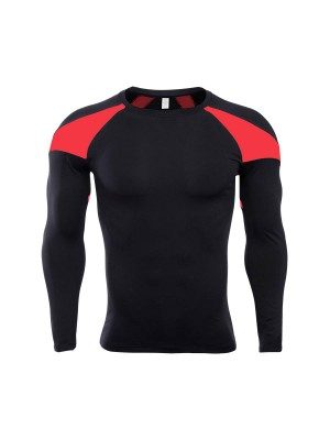 Bright Red Contrast Color Men's Sports Top Sheath Super Cool