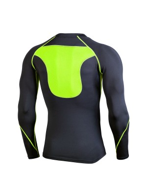 Magic Green Patchwork Crew Neck Athletic Top Outdoor Activity