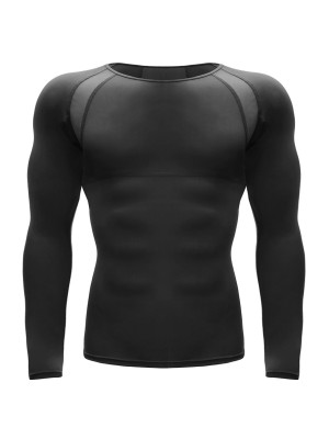 Resilient Black Long Sleeve Sports Top Patchwork Mesh Medium Support