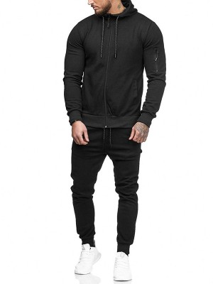 High Elasticity Black Sweat Suit Solid Color Hooded Neck Fashion