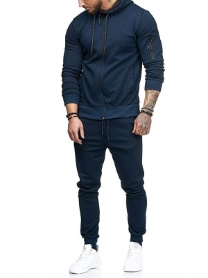 Custom Dark Blue Full Sleeve Drawstring Sweat Suit For Workouts