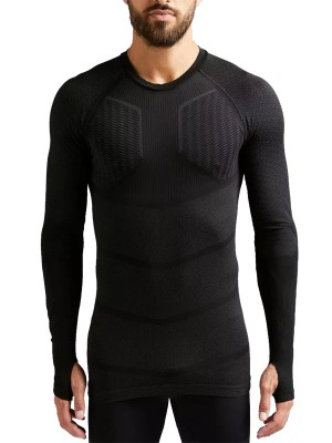 Comfortable Black Thumbhole Sports Top Round Collar Exercise
