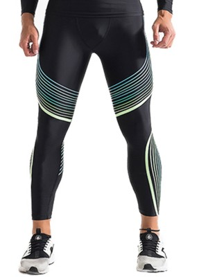 Slinky Elasitc Green Big Size Streamer Printing Leggings