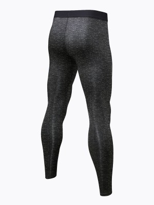 Conservative Dark Gray Sports Pants Patchwork High Waist Running Apparel