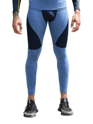 Modest Dark Blue Contrast Color Men's Leggings High Rise Absorbs Moisture