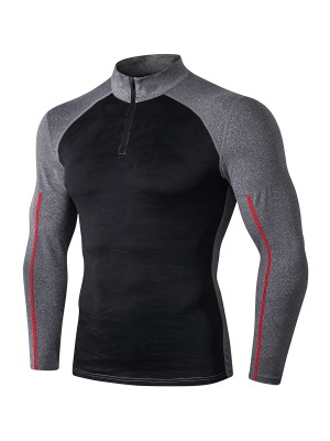 Flexible Black Zipper Sports Top Contrast Color Outdoor