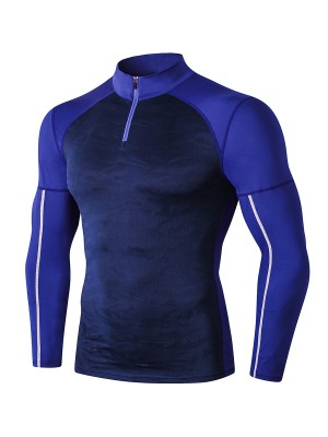 Cozy Navy Blue Long Sleeve Men's Athletic Top Slim Fit