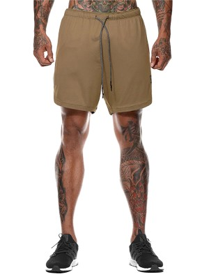 Modern Khaki Solid Color Men's Running Shorts Slim
