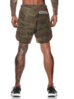 Fantasy Army Green Camouflage Print Shorts Drawstring For Workout