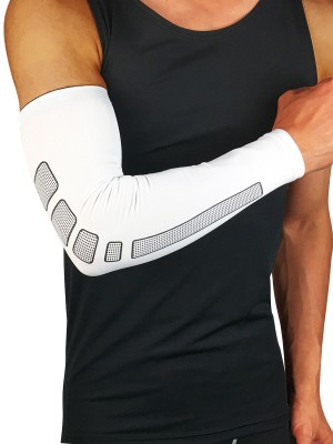 Poolside White Running Arm Guard Elbow Sleeve Form Fitting