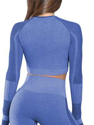 Sensual Royal Blue Full Sleeves Yoga Crop Top Thumbhole Casual Clothing