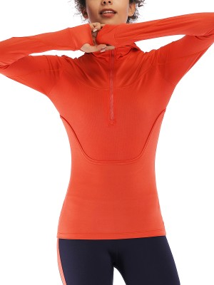 Eye Catching Orange Zipper Sports Top Thumbhole Full Sleeve Casual Wear