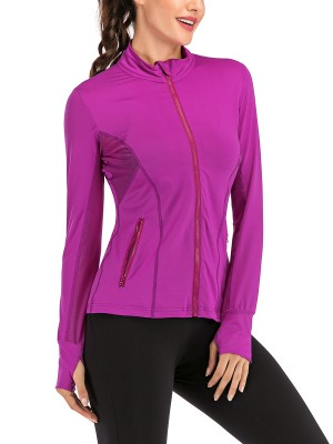 Casual Purple Side Pockets Sheer Mesh Sports Top Understated Design