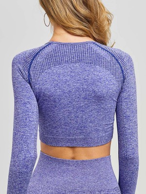 Irregular Purple Raglan Sleeve Sports Cropped Top For Camping