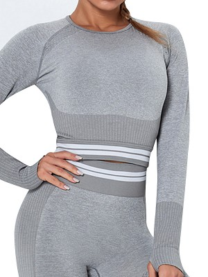 Quick Drying Light Gray Hollow Out Raglan Sleeve Running Top For Workout
